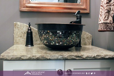 copper vessel sink split granite countertop