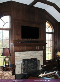 traditional fireplace walnut paneling study fireplace