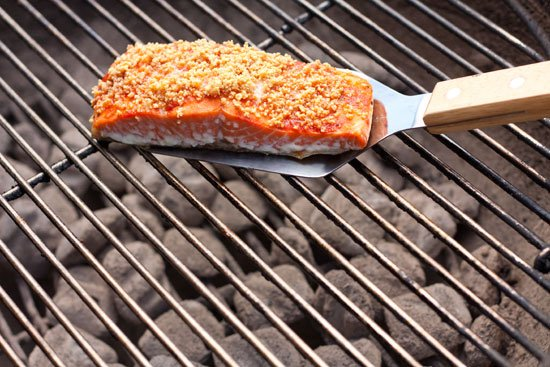 Grilled Peanut Crusted Sriracha Salmon - Grilling24x7