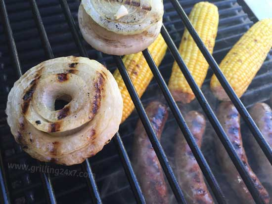 Beer brats and grilled onions - grilling24x7.com