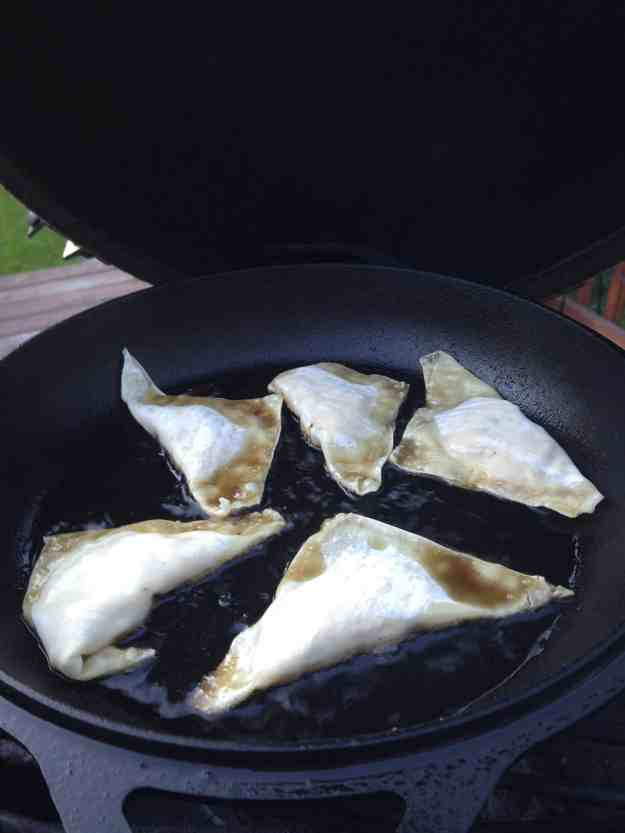 Crab Rangoon's crispy golden brown when cooked on the Big Green Egg