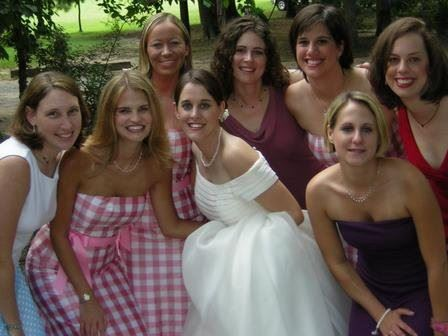 All smiles with my Alpha Gamma Delta sorority sister's — my first time as a bridesmaid.