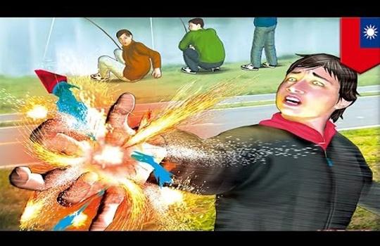 【閲覧注意】子供が勝手に花火した結果・・・子供が爆発 ※グロ動画