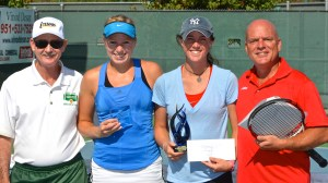 (L to R) Tournament director Larry Loeb, runner-up Bettina Radke, women's singles champ Kaitlyn Christian, emcee Marcus Tennis at the 2013 iTennis/Andulka Park Adult Open Tennis Championships.