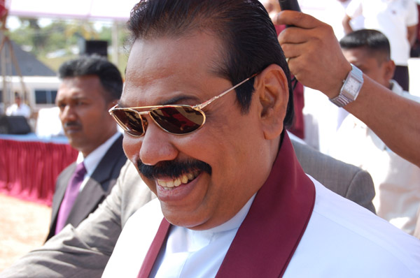 Mohinda Rajapaksa at election rally at Homagama, Sri Lanka.