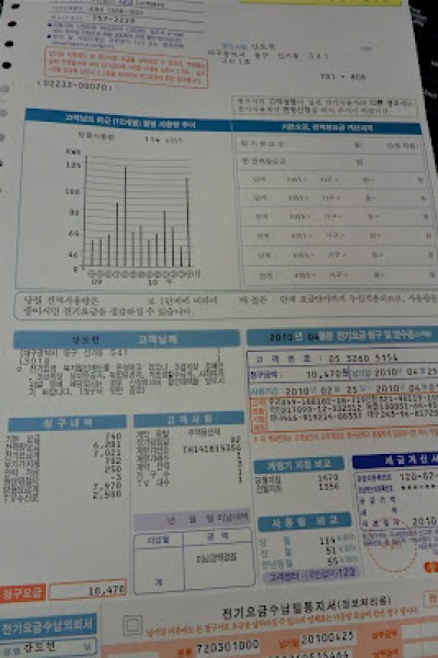 gas and electric bill in korea, korean gas and electric bills, reading your korean utility bills