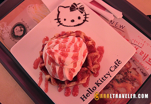 hello kitty cafe waffle dessert, korean waffle desserts, theme cafes in seoul,