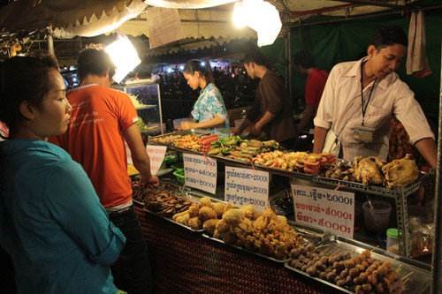 khmer food stands at the night market
