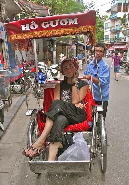 rickshaw in vietnam, grrrltraveler in vietnam, hanoi rickshaw