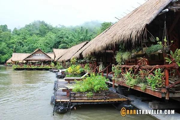 river kwai floating river raft hotel, where to stay in kachanaburi, river kwai river boat hotels