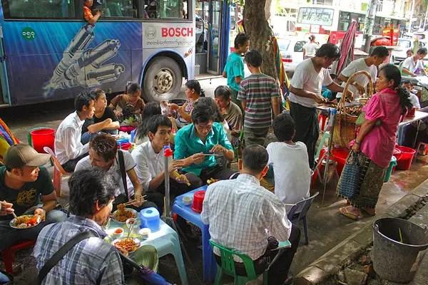 myanmar street food, burmese food in yangon