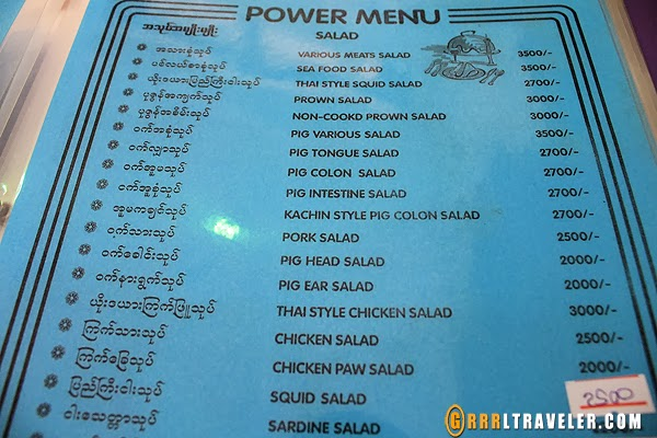 yangon restaurant menu
