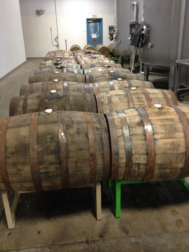 Narwhal stout aging in bourbon barrels. They had barrels scattered around the brewery. They're planning on expanding their barrel aging and dedicating more space to it.