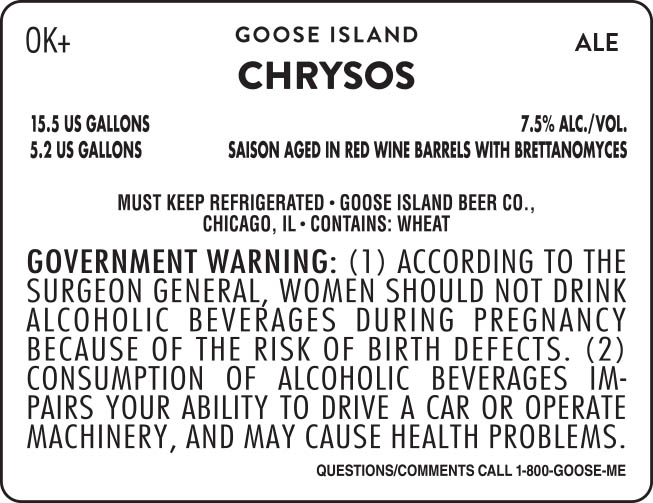 Goose Island Chrysos Saison Aged in REd Wine Barrels with Brettanomyces