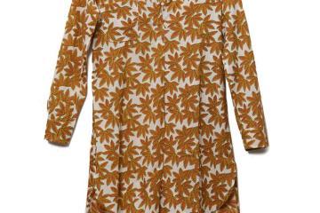 Shop Latitude, Chartreuse And Peach Floral Cotton Block Print Zara Tunic, $75
