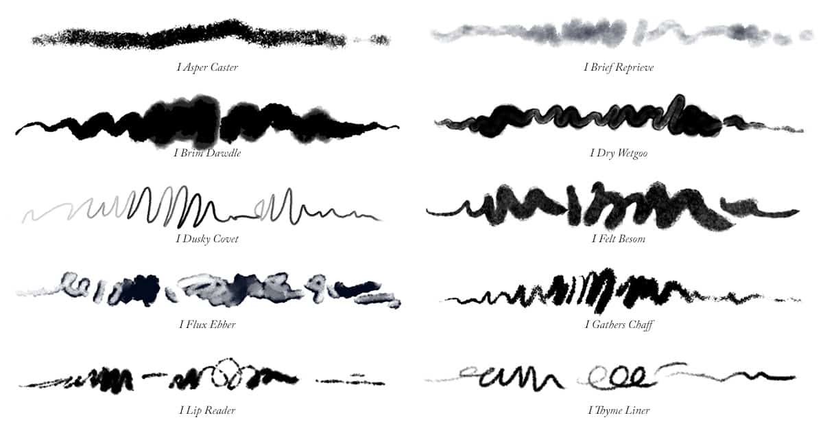 Brush strokes of all 10 Photoshop Ink Brushes
