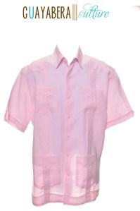 CU Short Sleeve Cross Dyed Pink Guayabera Front