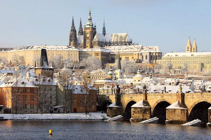 Romantic Snowy Prague gothic Castle, Czech Republic