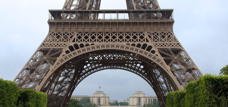 La base de la torre Eiffel con el Campo de Marte y la Escuela Militar al fondo