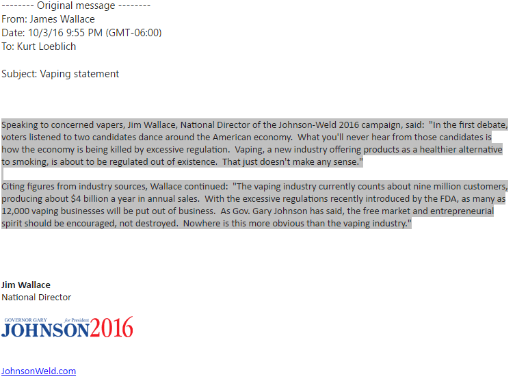 Statement released by the 2016 Johnson/Weld Presidential Campaign office regarding vaping
