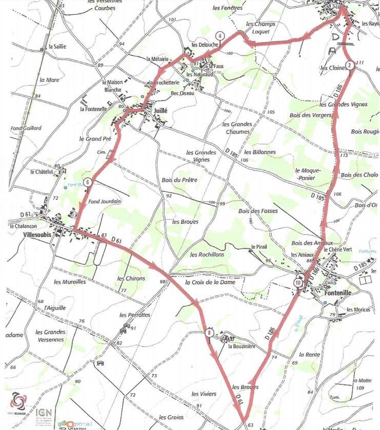 Plan du course de Lonnes