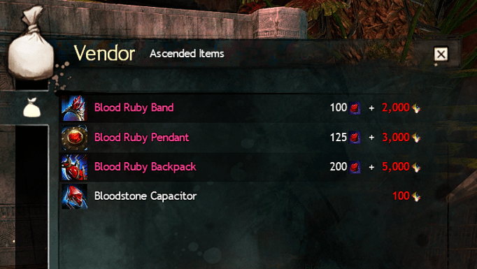 Ascended Blood Ruby Items
