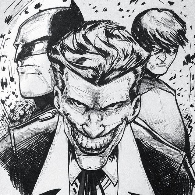 #comics #joker #pigmamicron #n&b #batman #robin #batmanrobinjoker #dc #dccomics #pigmagraphic #illustration #art #popcultureart #itsajoke #draw #drawing #pencildrawing