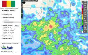 """Simulated radar based on the total lightning detection shows strong storms in NW Guinea. An almost daily afternoon occurance lately. Rainfall totals the past seven days have exceeded 8"""" in part of Fouta Djallon."""