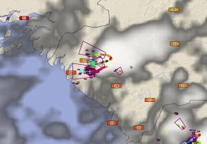 Guinea Total Lightning system issued Dangerous Thunderstorm Alerts for the storms moving toward the coast.