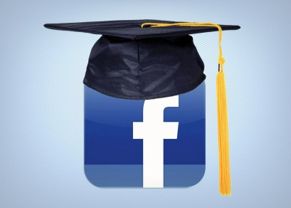 "An image of the Facebook icon with a college graduation hood on it; Published as part ""Why we need to teach marketable, digital skill sets in higher education"""