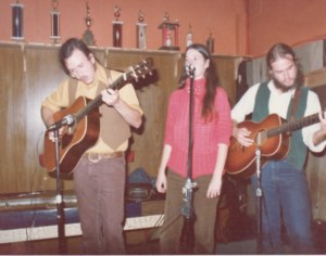 Bum's Rush String Band Live at Murphy's in Corvallis, circa 1975 - L to R: Ted Tom, Paula Walters, Paul Kotapish