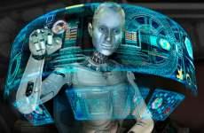 Robot Operating Futuristic Computer