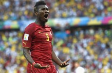 Gyan, pictured against Germany in 2014, has sported extravagant hairstyles throughout his career