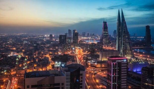 Bahrain, Manama, Cityscape view of Bahrain World Trade Center and Bahrain Financial Harbor