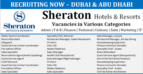 Latest Jobs Hiring At Sheraton Hotel Amp Resorts In Uae