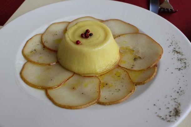 Soft Pecorino cheese with marinated pears. Yummy!!!