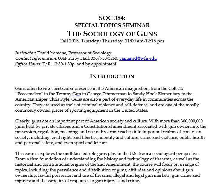 Starting to Teach the Sociology of Guns This Semester