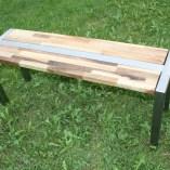 Sitzbank Edelstahlgestell Holz Nussbaum verleimt