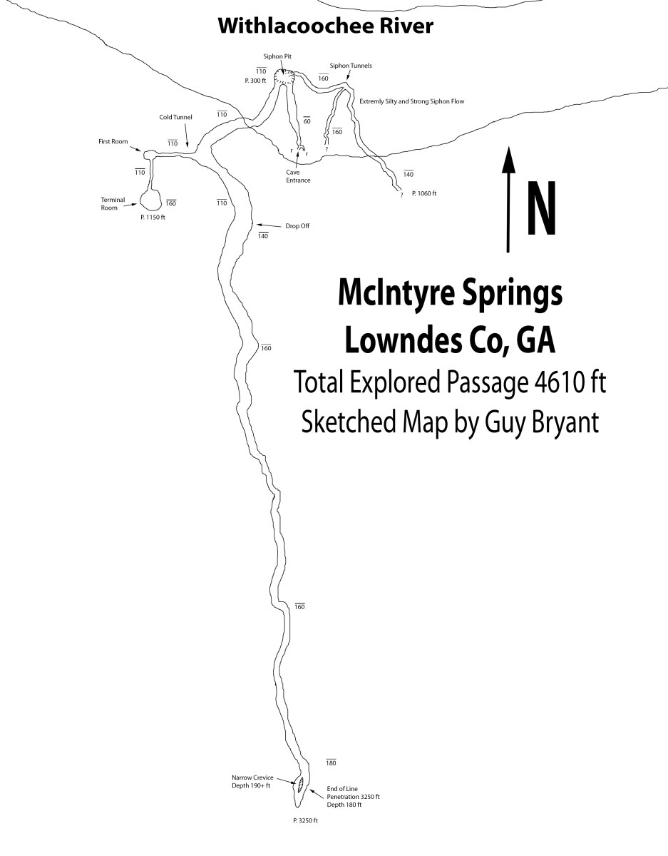 McIntyre Spring caverns sketch map by Guy Bryant