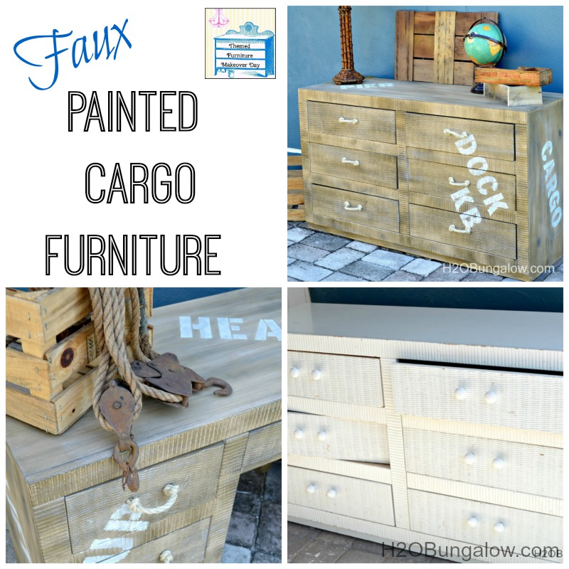 Faux painted cargo furniture tutorial to get an aged pallet look on furniture H2OBungalow