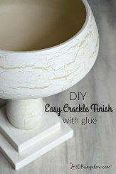 Simple tutorial to make a DIY crackled finish using glue. Any cheap white Elmers glue knock off will work. Simple steps and great results. H2OBungalow