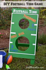 DIY football toss game tutorial. Great fun for a party or family holiday game. Make a bean bag toss, water balloon game, Fl Gators football toss or more. Get creative and have fun! H2OBungalow