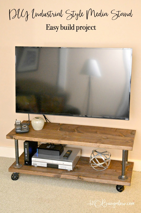 DIY Industrial Style Media Stand With Wheels - H20Bungalow