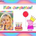 Fotomontaje Feliz Cumpleaños con Peppa Pig Cerdita