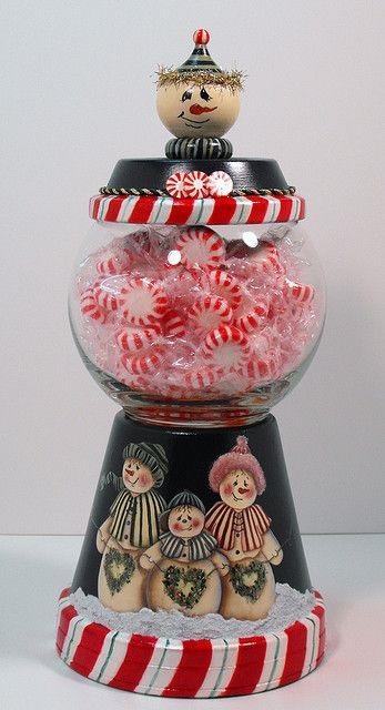 macetas pintas con dulces
