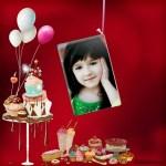 Marco de Cumpleaños con globos y pasteles
