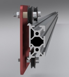 Trapped v-wheels on bearings keep your axes straight and perpendicular.