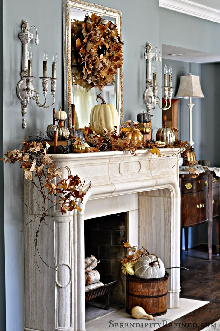 Fireplace Mantel Decor Ideas for Decorating for Thanksgiving Luxury mantel decor