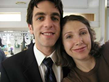 B.J. Novak and me, in the Hair & Makeup Trailer.
