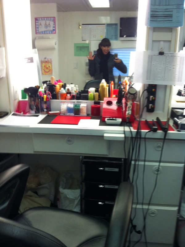 My Hair Station in the office trailer, my second home